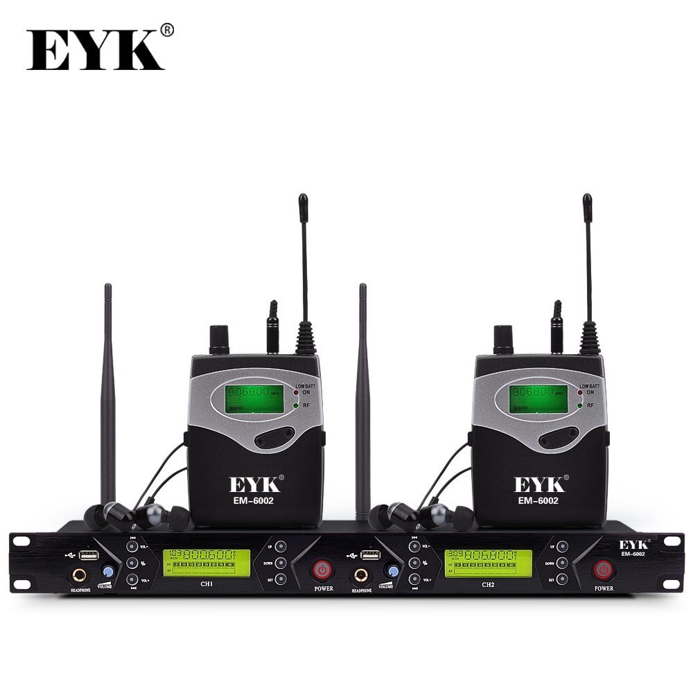 Em 6002 Wireless In Ear Monitor System Professional Stage Performance Ear Monitoring Systems With Two Bodypack Transmitter With Images In Ear Monitors Systems Professional Bodypack