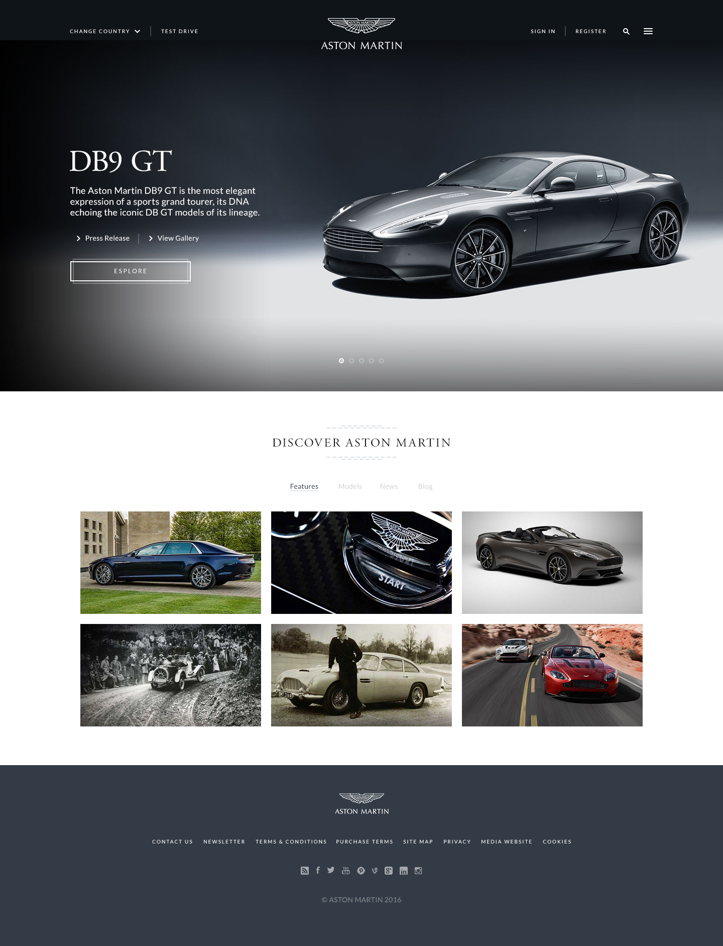Aston Martin Website UI design Car ui Pinterest