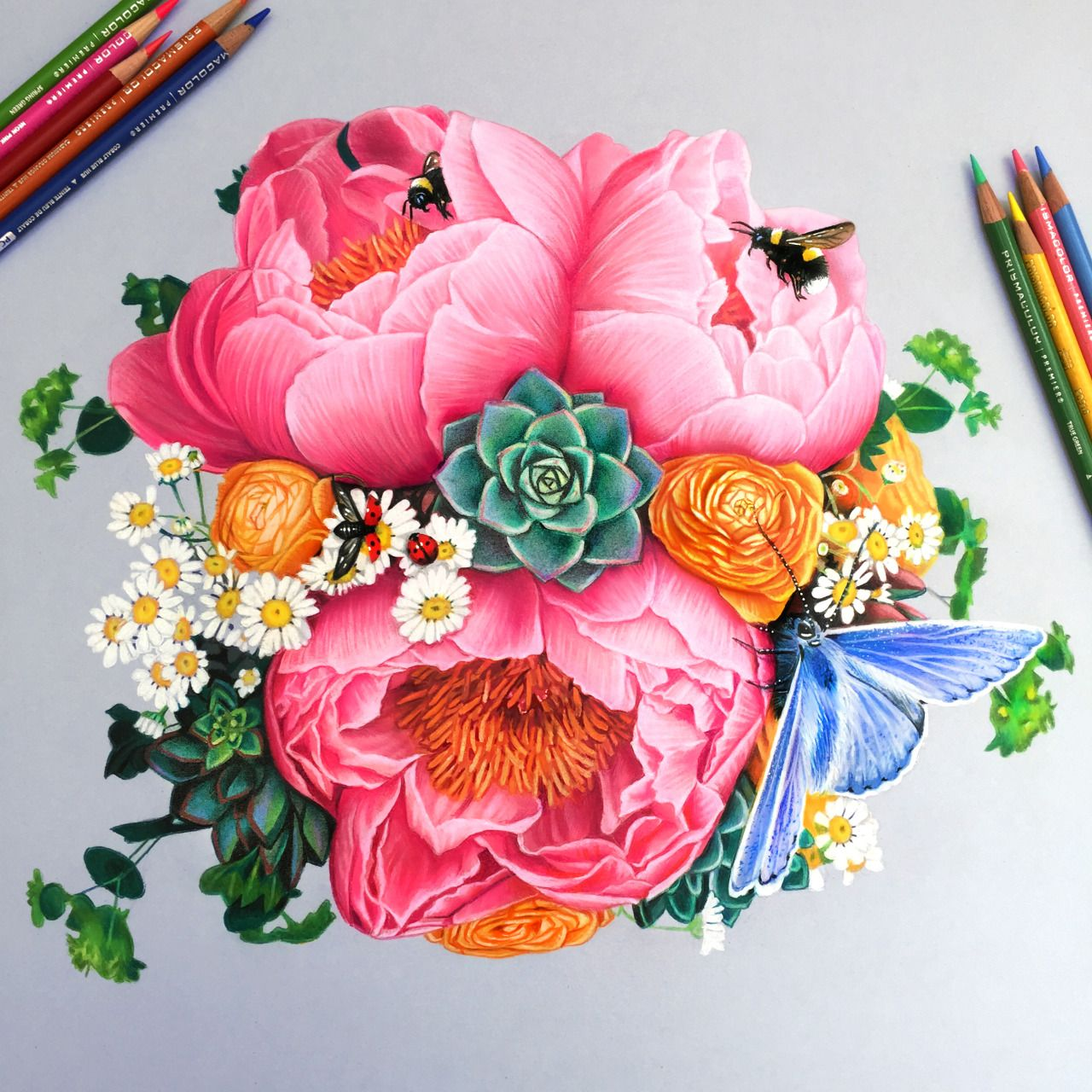 A Drawing Of Some My Favorite Flowers And Bugs For Valentines Day Colored Pencil