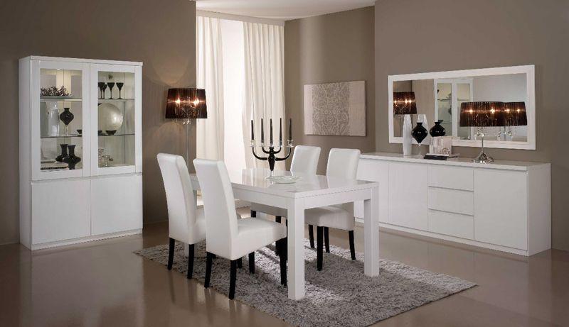 Salle à manger complète couleur chêne blanchi et gris laqué moderne