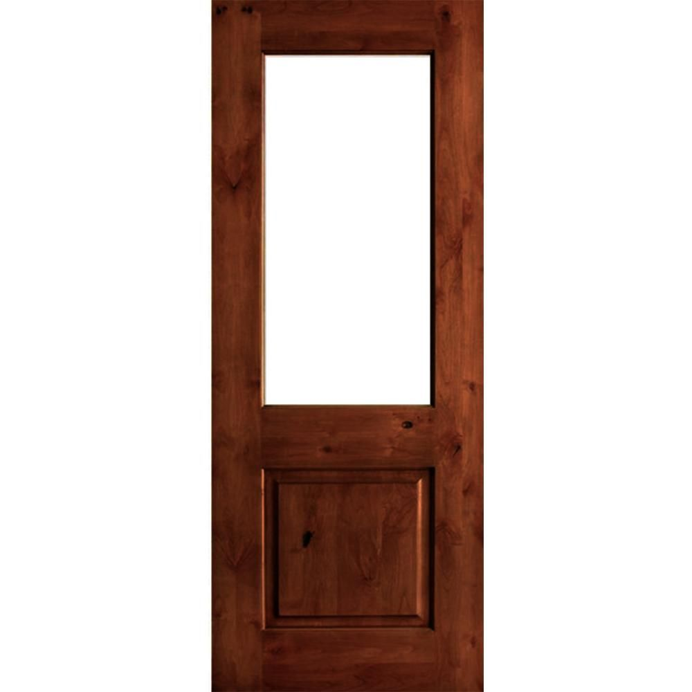 Krosswood Doors 32 In X 96 In Rustic Knotty Alder Wood Satin Etch Full Lite Red Chestnut Stain Left Hand Single Prehung Front Door Phed Ka 400se 28 80 134 Lh In 2020 Stained Doors Front Door Prices Red
