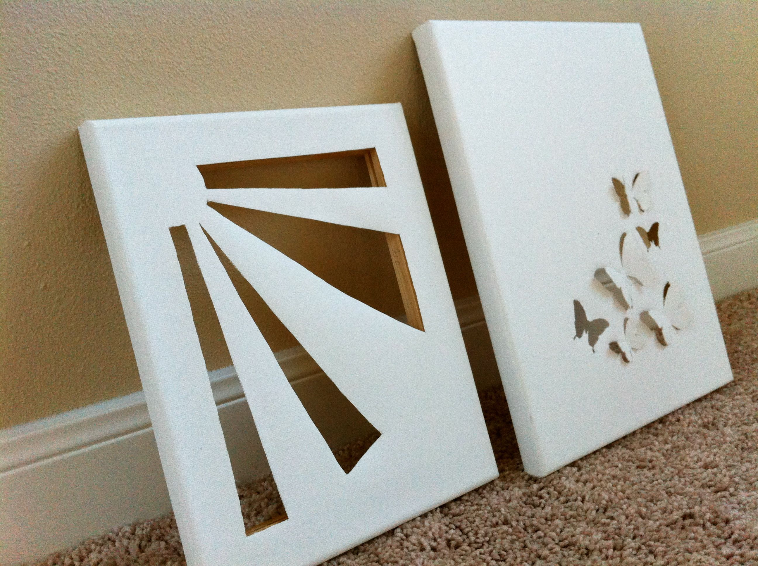canvas cut out, no directions but easy to do the one on the left ...