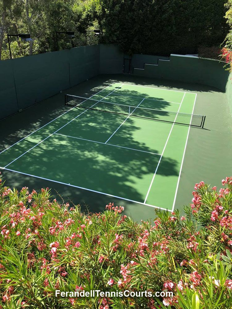 Beautiful Tennis Court Resurfacing Project By Ferandell Tennis Courts For A Los Angeles Residence Tennis Court Backyard Backyard Tennis Court