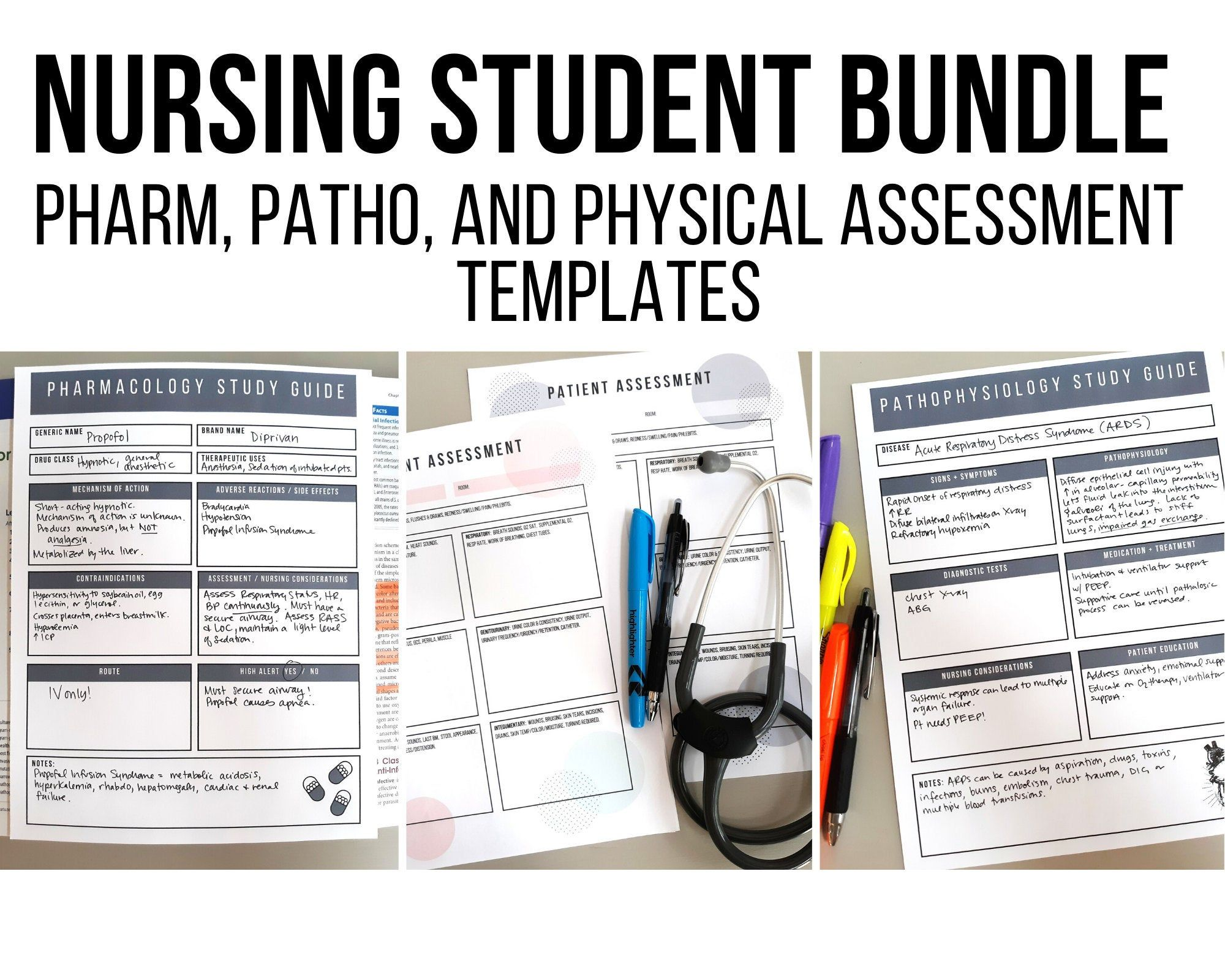 Nursing Student Printable Bundle Nursing School Templates