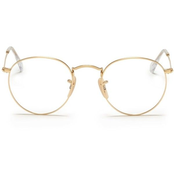 6b0abd94e Ray-Ban Round metal optical glasses ($120) ❤ liked on Polyvore featuring  accessories, eyewear, eyeglasses, glasses, metallic, metal eyeglasses, ray- ban, ...