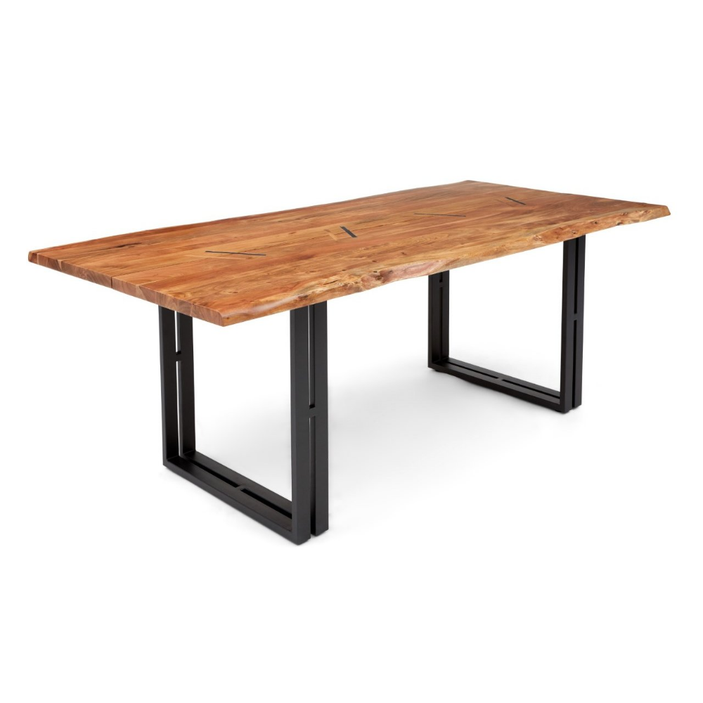 Solid Wood And Metal Dining Table Acacia In 2020 Metal Dining Table Wood And Metal Dining Table
