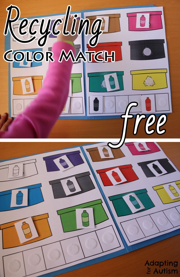 Grab This Free Recycling File Folder Activity To Practice Color Matching This Will Be File Folder Activities Folder Games For Toddlers File Folder Games Free