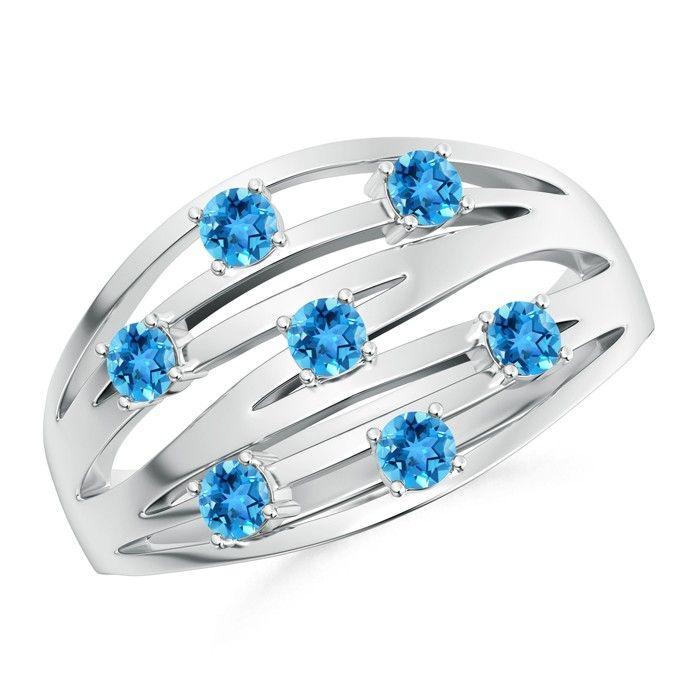 Angara Scattered Split Seven Swiss Blue Topaz Wedding Band Ring w6eHCFcDF8
