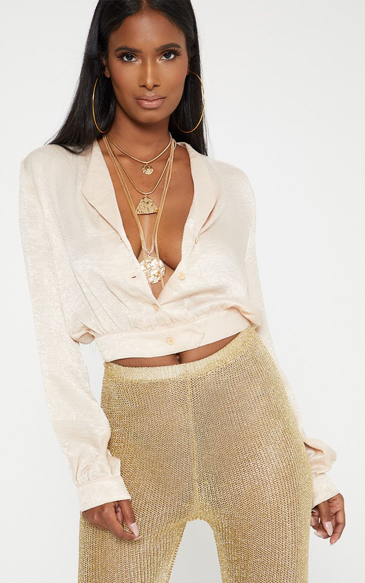 bf8bdf35af45 Champagne Satin Button Front Crop Shirt Slay in satin girl with this shirt.  Featuring a sultry ch.