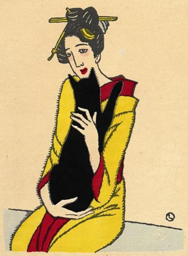 Illustration by Takehisa Yumeji (1884 -1934), 1920, Woman with Cat. (J)