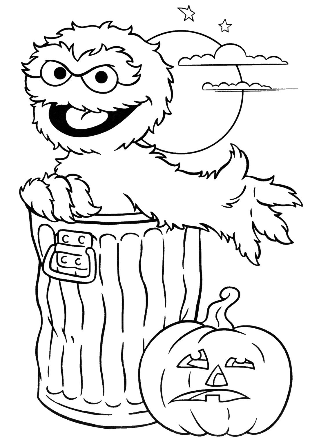 Oscar the Grouch with a Jack-O-Lantern Coloring Page | Halloween ...