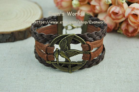 Hunger Games Charm BraceletBrown Weave Leather & by Evanworld, $5.50
