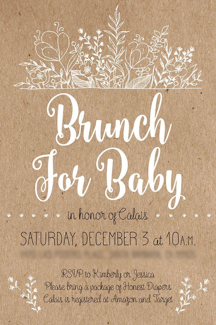 Rustic Baby Shower Invitation, Shabby Chic, White Calligraphy, Kraft ...