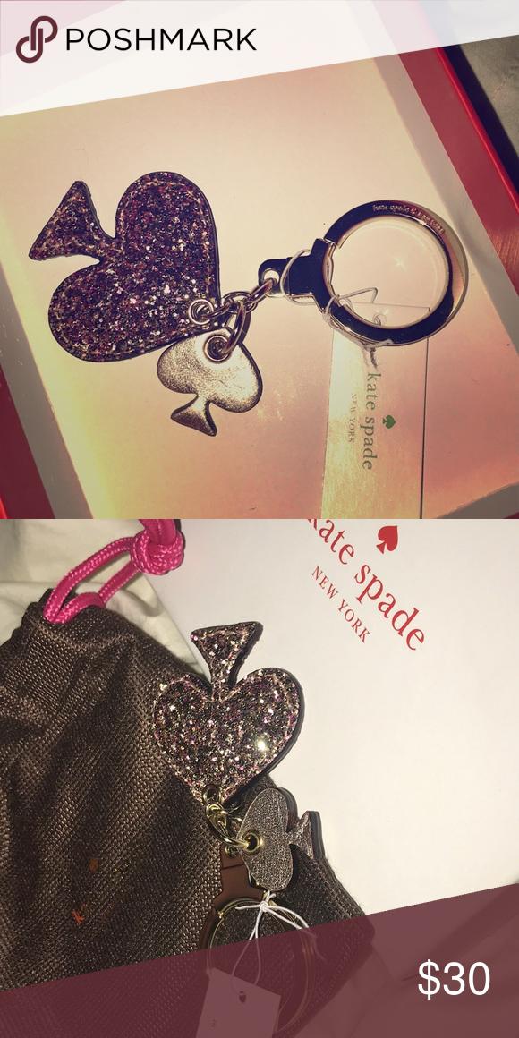 Kate Spade Glitter Heart Keychain Cute, never used before
