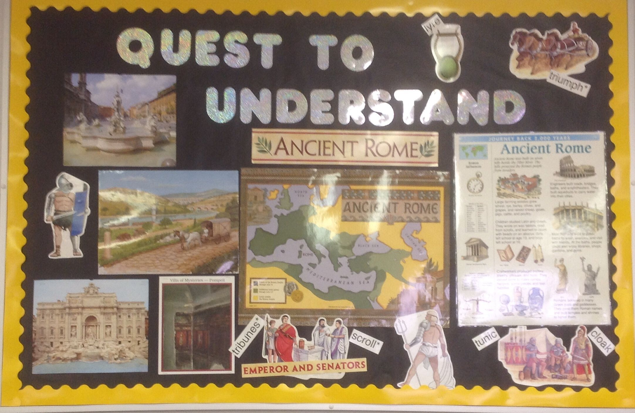 This Board Illustrates Different Aspects Of Ancient Rome