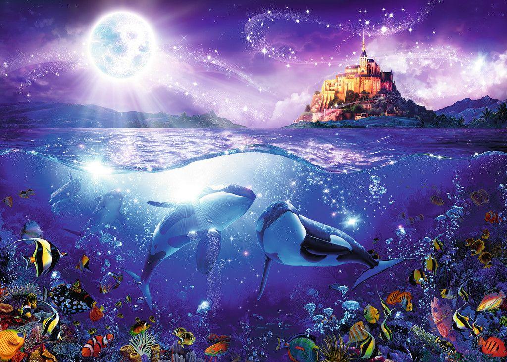 Https Www Ravensburger De Produkte Puzzle Erwachsenenpuzzle Wale Im Mondschein 19791 Index Html Delphin Bilder Mondschein Tiere Malen