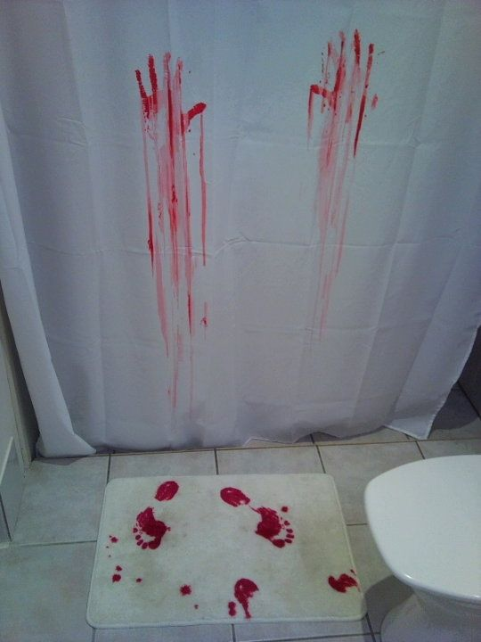 Creepy Shower Curtain Bath Mat That Turns Red Where You Stepeeeek Would Love To Have It