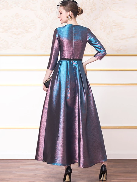 High Waist Big Hem 3/4 Sleeve Ruffled Party Maxi Dress ...