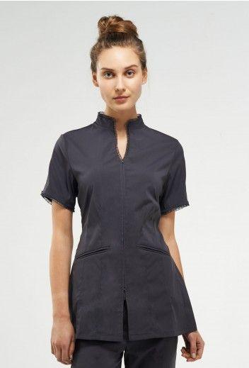 Bella uniform by noel asmar elegant but stretchy and for Spa worker uniform
