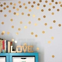 52pcs Polka Dots Wall Sticker Nursery Stickers Kids Children Wall Decals Home Decor DIY Peel and Stick Art Wall Decoration is part of Gold Home Accessories Polka Dots - 100% Brand New MaterialPVC Size44cm52pcs ColorGold Package Includes1 set