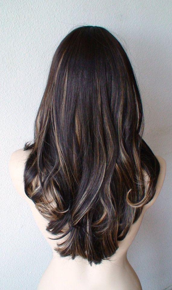 Summer Special Dark Brown Honey Blonde Mix Wig By Kekeshop 97 50 Hair Streaks Brunette Hair Color Long Wavy Hair