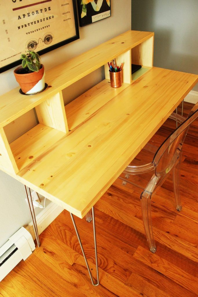How To Build A Contemporary Desk With Shelf And Hairpin Legs Simple Desk Diy Standing Desk Contemporary Desk
