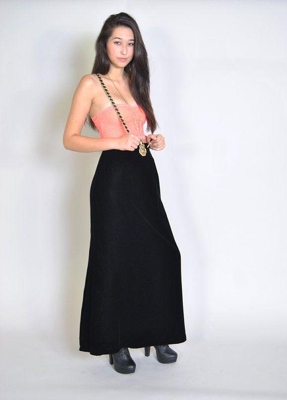 Vintage Black Velvet Maxi Skirt 80s Victor Costa Designer Black Velvet Long Skirt S