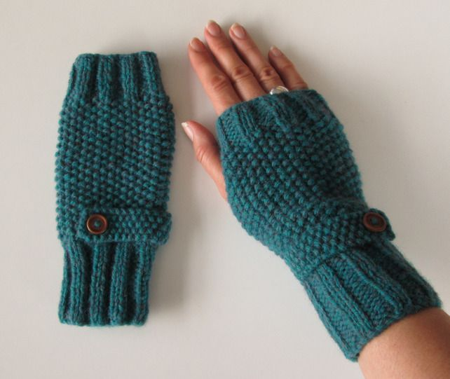 Fingerless Gloves in Deep Teal Green Aran Wool  £15.00