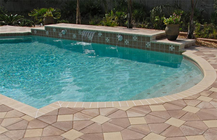 Bishop hat pool deck with bullnose coping many different for Pool design pattern