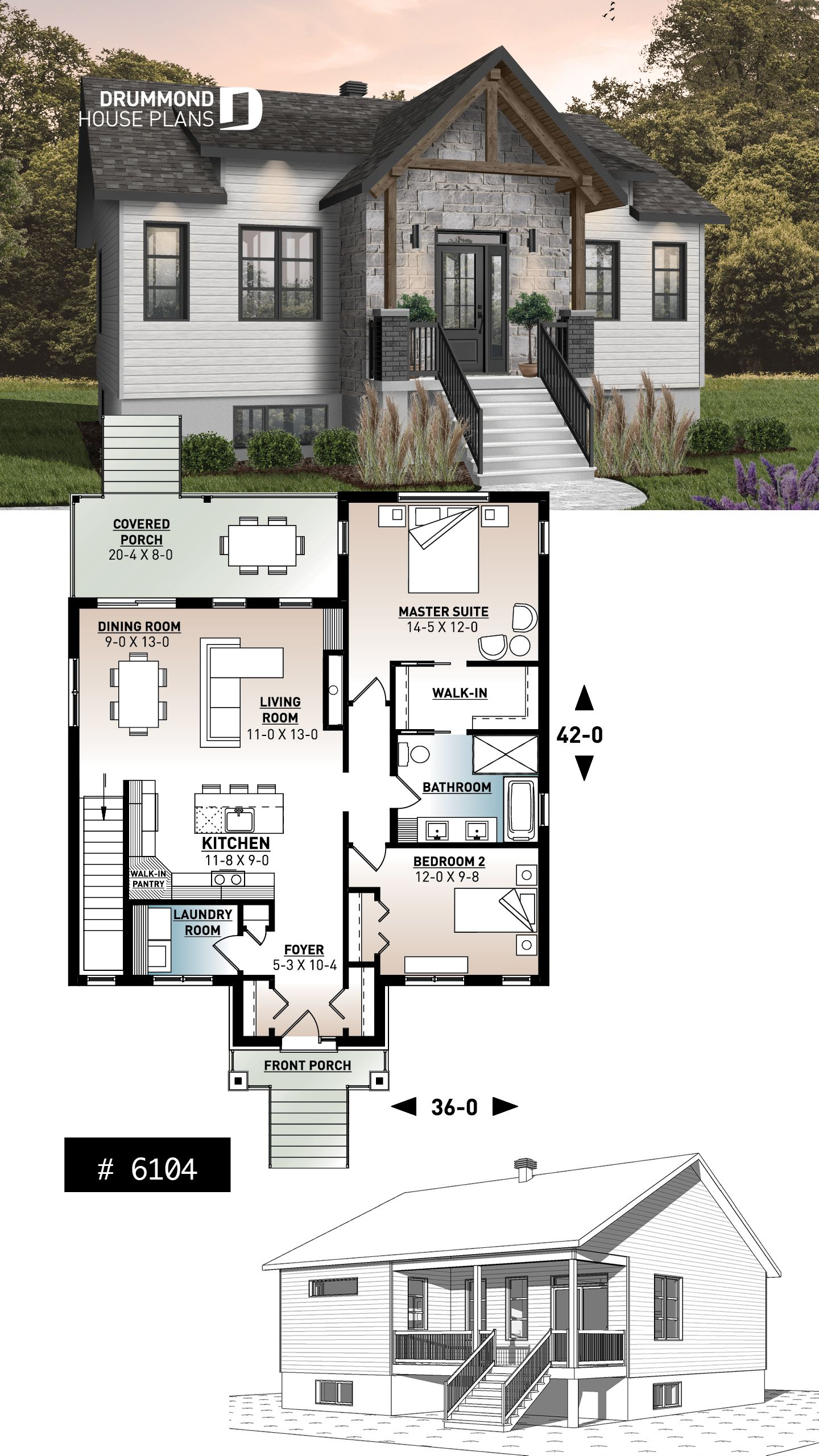 Discover The Plan 6104 Chai Which Will Please You For Its 2 Bedrooms And For Its Modern Craftsman Styles Sims House Plans Sims House House Plans