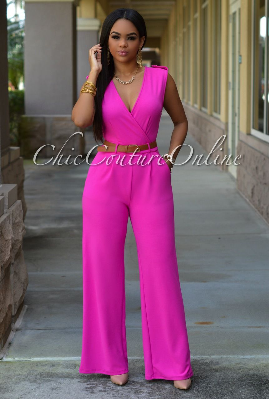 Chic Couture Online - Capri Fuchsia Belted Jumpsuit, (http://www ...