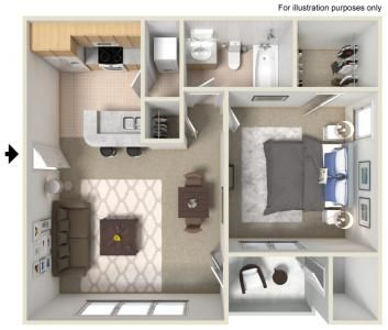 A1 1 Bedroom 1 Bathroom 548 Sq Ft Apartment Layout Apartment Floor Plans Apartment Bedroom Decor