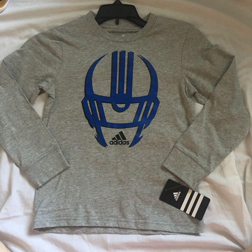 Adidas boys long sleeved shirt size 5 football gray blue