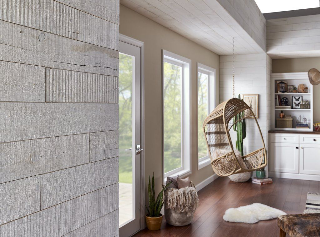 Hamptons Peel And Stick Reclaimed Wood Adds Casual Warmth In Large Spaces Diy Reclaimed Wood Wall Bookshelves In Living Room Peel And Stick Shiplap