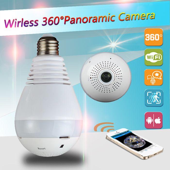 960 P 360 degrés Sans Fil IP Caméra Ampoule Lumière FishEye Smart