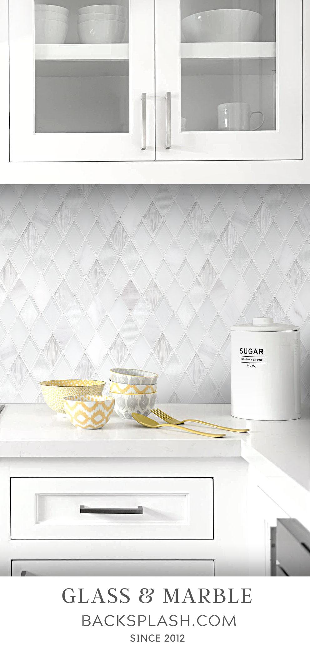 elegant white rhomboid backsplash tile