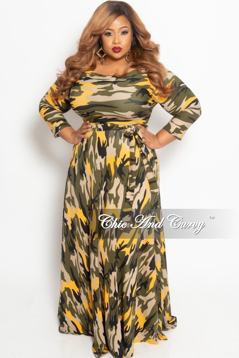 b04108f8aca589 Plus Size Long Pocket Dress with 3/4 Sleeve and Tie in Mustard Camo – Chic  And Curvy