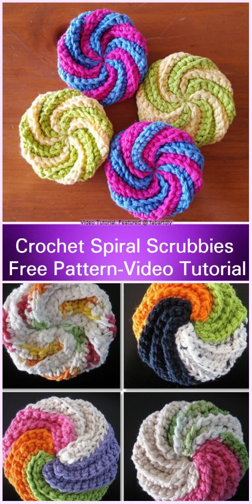 Crochet Spiral Scrubbies Free Pattern-Video Tutorial