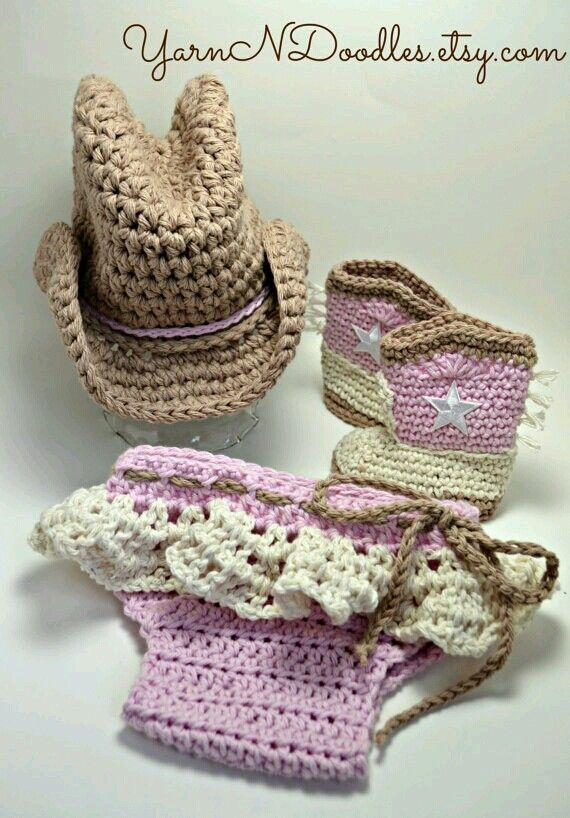 Newborn Infant Toddler Baby Cowgirl Photography Prop Costume Shower Birthday Holiday Gift Cowgirl Hat Boots and Ruffle Diaper Halloween & Love this! | Fall/Halloween | Pinterest | Crochet Babies and Patterns