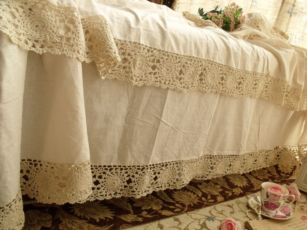 Lace Bed Skirts Elegant Hand Crochet Lace Full Bed Skirt