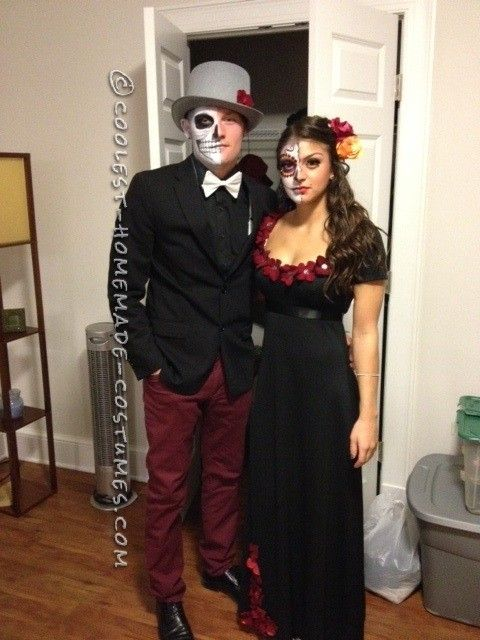 coolest dia de los muertos couple costume halloween pinterest maquillage halloween. Black Bedroom Furniture Sets. Home Design Ideas