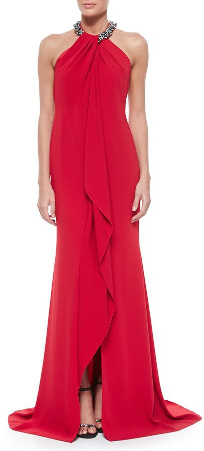 376 Red Evening Dress Carmen Marc Valvo Beaded Neck Toga Gown Red