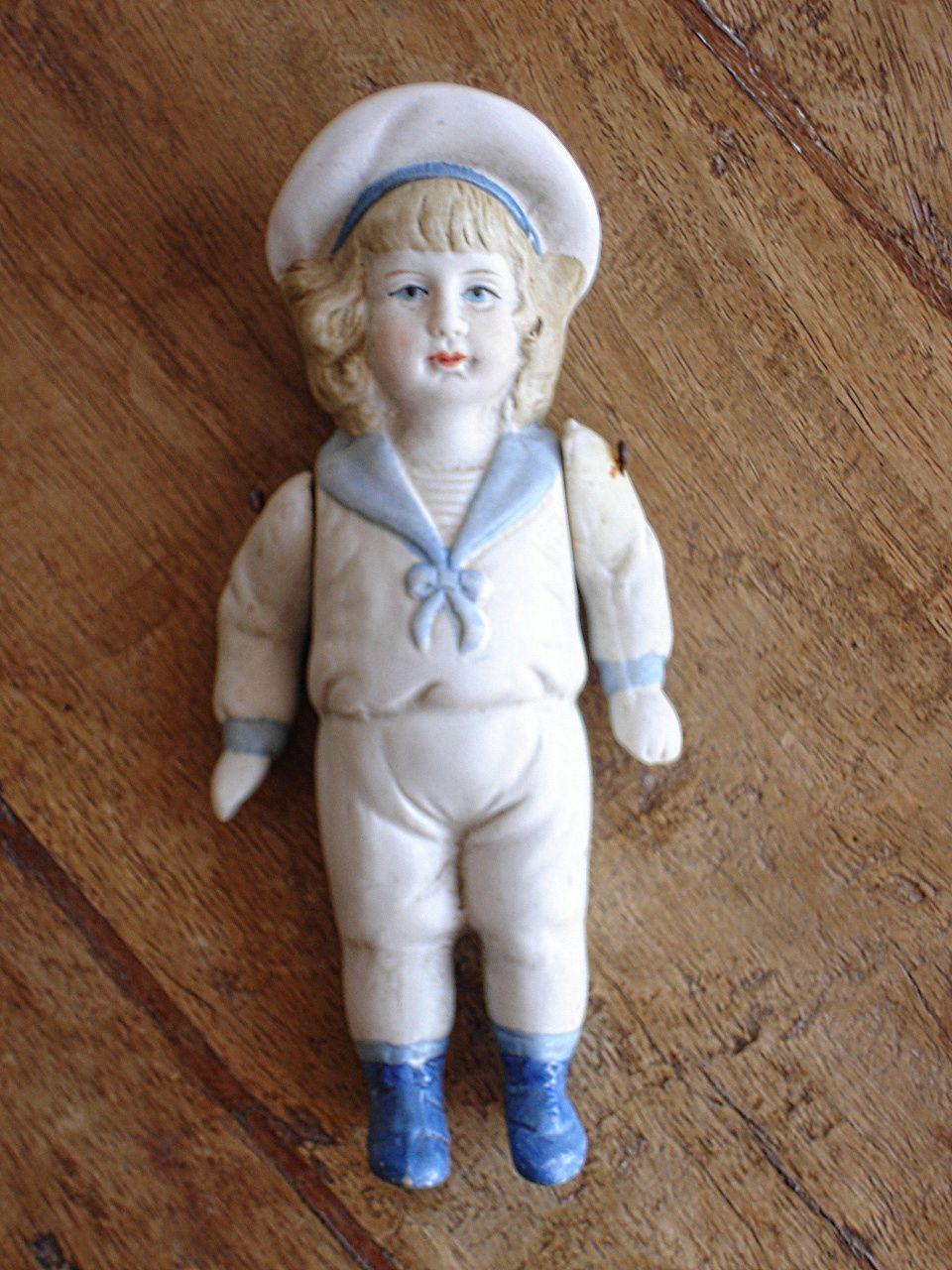Vintage Bisque Sailor Boy Doll. Mignonette Figurine. | All ...