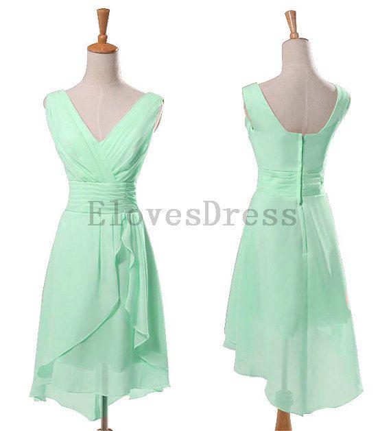 Mint bridesmaid dress, short bridesmaid dress, chiffon ...