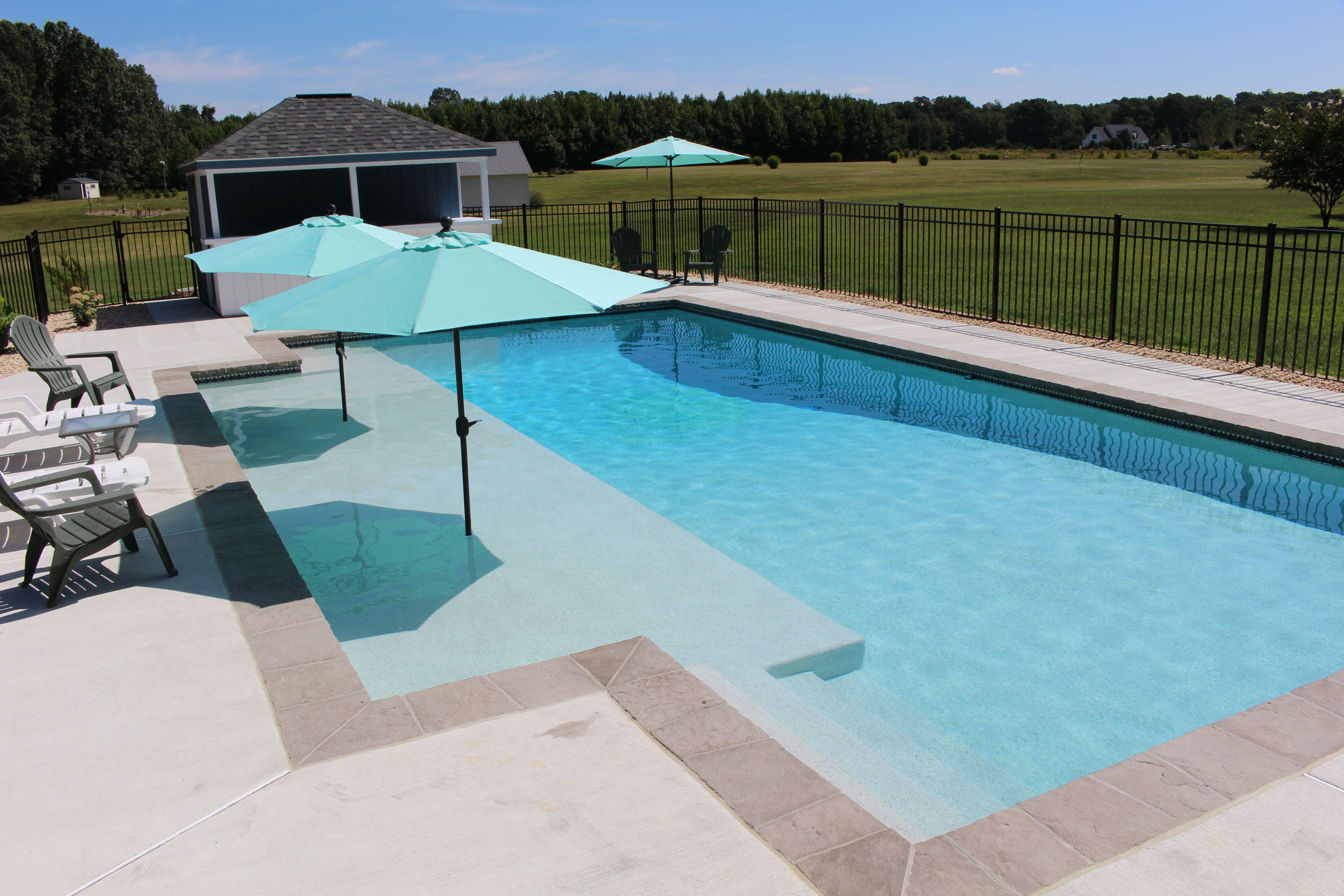 Pool With Sun Shelf 11 Rectangle Pool Pools Backyard Inground Pool Remodel