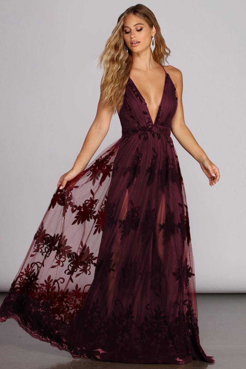 Morgan Formal Flocked Velvet Dress In 2021 Burgundy Dress Dresses Formal Dresses [ 1200 x 800 Pixel ]