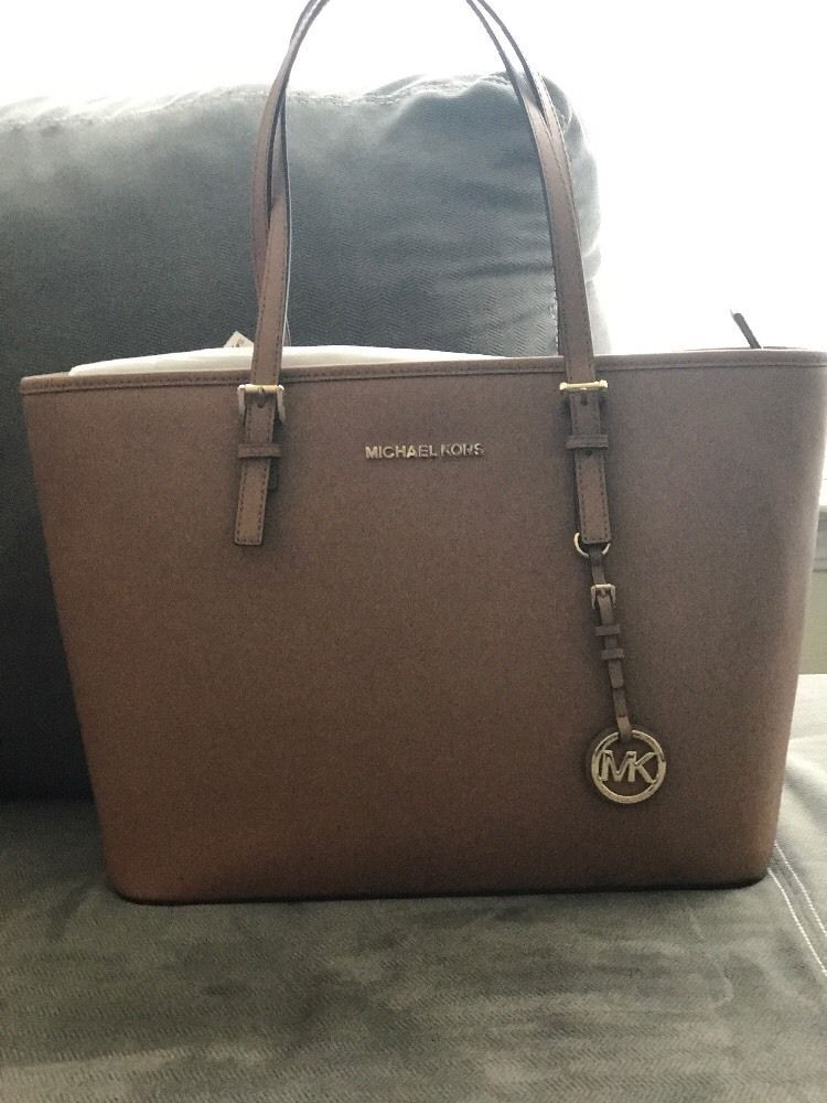 32110e083a04 Brand New Michael Kors Jet Set Travel Top Zip Medium Tote Saffiano Leather  Bag #MichaelKors #TotesShoppers