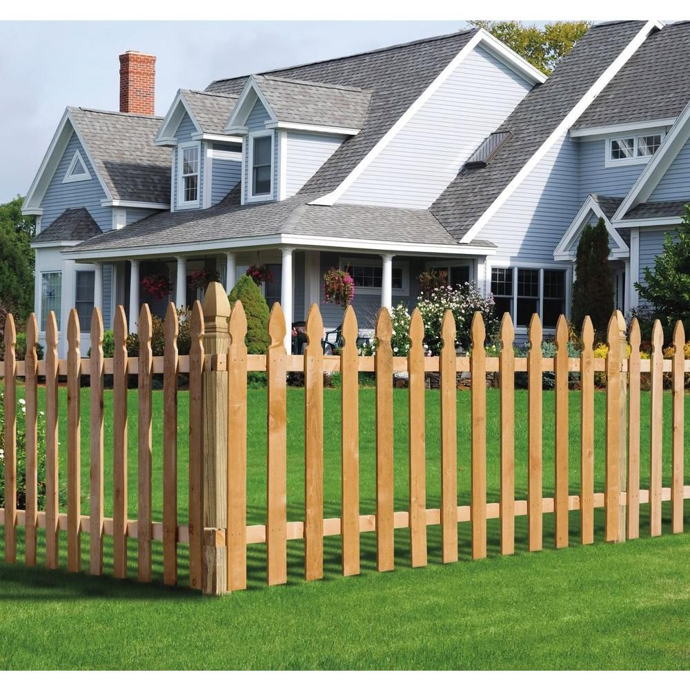 Null 3 1 2 Ft H X 8 Ft W Cedar Spaced French Gothic Fence Panel Wood Picket Fence Picket Fence Panels Picket Fence
