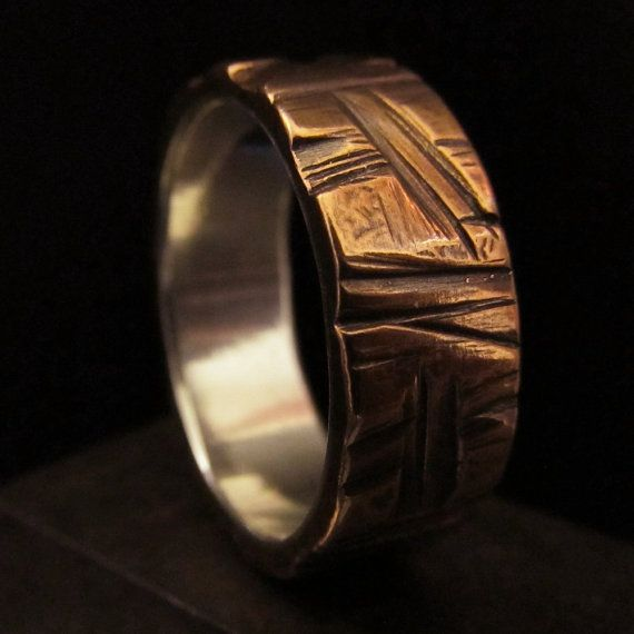 Mens wedding ring textured copper silver wedding band unique steampunk valentines personalized made to order design 011 - Another good one for Sam.: