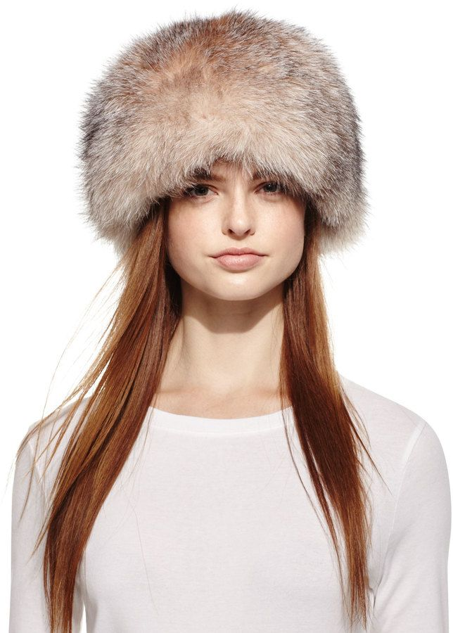 382693d81 Surell Fox Fur Bubble Hat, Crystal | Photo Shoots | Fox fur, Hats, Fur